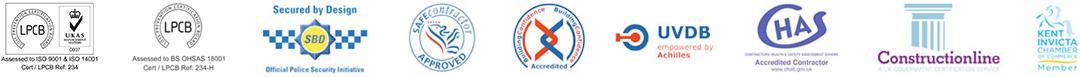 sunray doors accredited footer logos